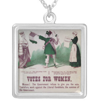 Women's Suffrage Poster Silver Plated Necklace