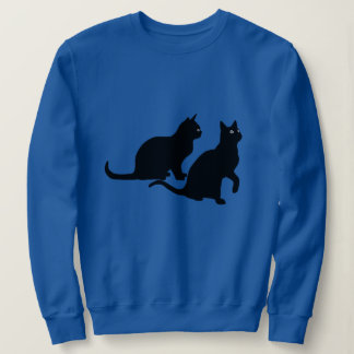 Womens Sweat Shirt - Black Cat Duo