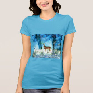 Women's T-Shirt with Deer in a Bright Snowy Forest