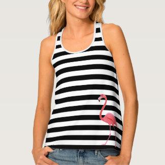 Womens Tank Top-Black & White Stripes Tank Top