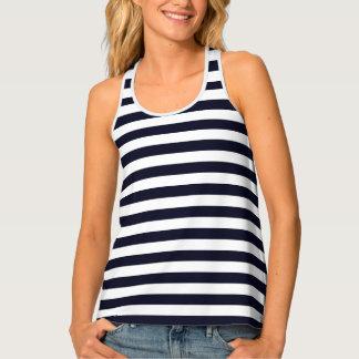 Womens Tank Top-Navy & White Stripes Tank Top