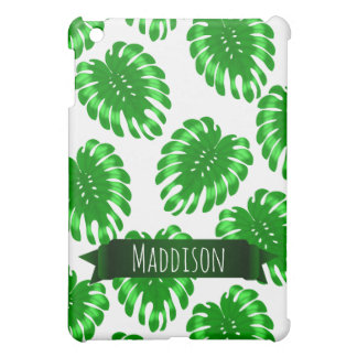 Womens Teen Girls Green Tropical Leaf Personalized iPad Mini Case