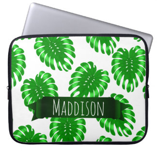 Womens Teen Girls Green Tropical Leaf Personalized Laptop Sleeve