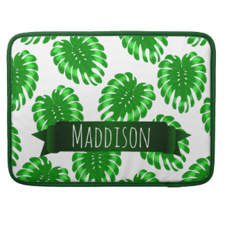 Womens Teen Girls Green Tropical Leaf Personalized MacBook Pro Sleeve