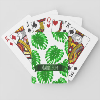 Womens Teen Girls Green Tropical Leaf Personalized Playing Cards
