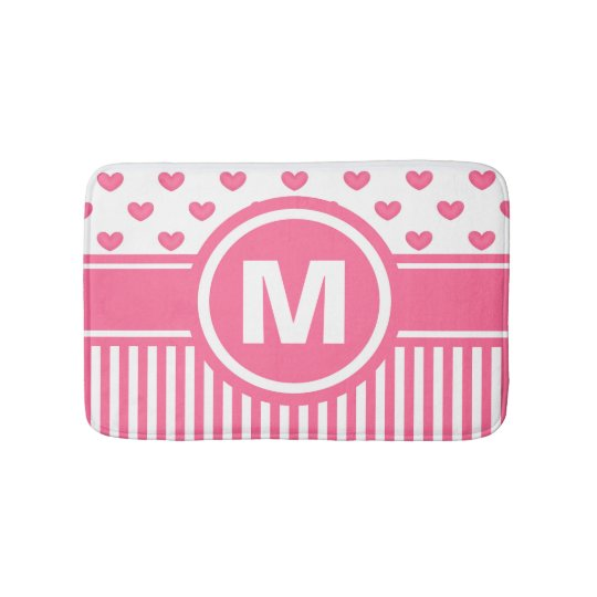 Women's Teen Girls Personalised Pink Striped Heart Bath