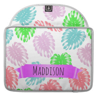 Women's Teen Girls Personalized Pastel Tropical MacBook Pro Sleeve