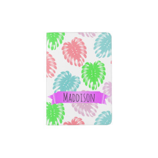 Women's Teen Girls Personalized Pastel Tropical Passport Holder