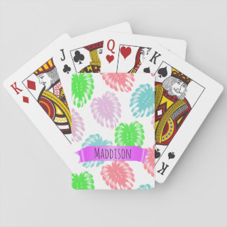 Women's Teen Girls Personalized Pastel Tropical Playing Cards