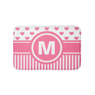 Women's Teen Girls Personalized Pink Striped Heart Bath Mats