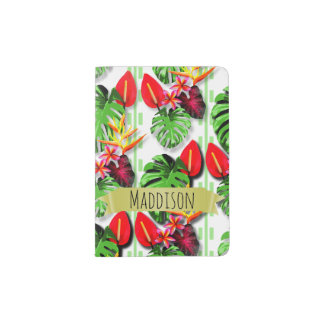 Women's Teen Girls Personalized Tropical Leaf Passport Holder