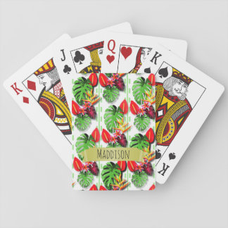 Women's Teen Girls Personalized Tropical Leaf Playing Cards