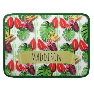 Women's Teen Girls Personalized Tropical Leaf Sleeve For MacBook Pro