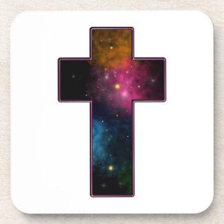 Women's Teen Girls Trendy Christian Cross Galaxy Coasters