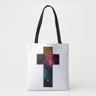 Women's Teen Girls Trendy Christian Cross Galaxy Tote Bag