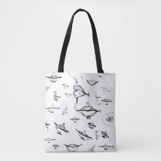 Women's tote bag with lips print