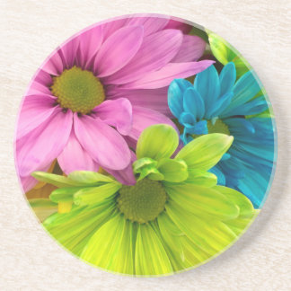 women's trendy colorful flower drink coaster