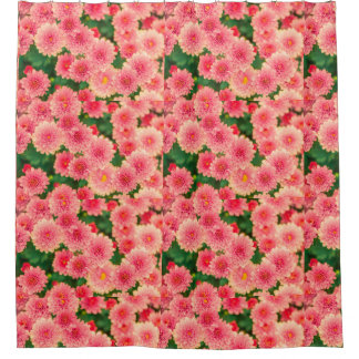 Women's trendy pink flower shower curtain