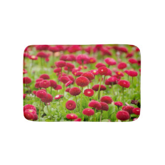 Women's trendy red summer flower bath mat