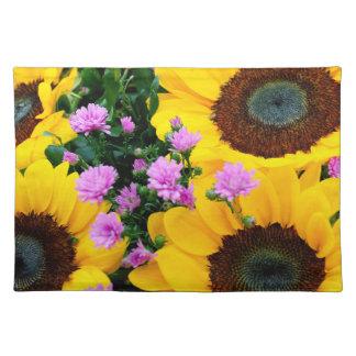 women's trendy sun flower cloth placemat
