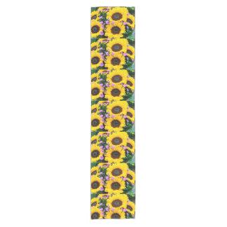 women's trendy sun flower cloth table runner
