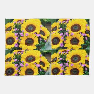 women's trendy sun flower kitchen towel