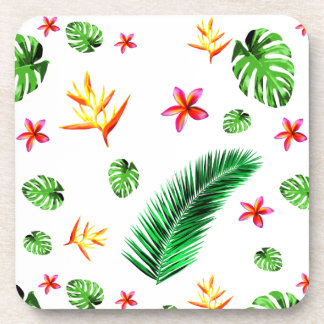 Women's Trendy Tropical Leaf Flower Home Decor Drink Coaster