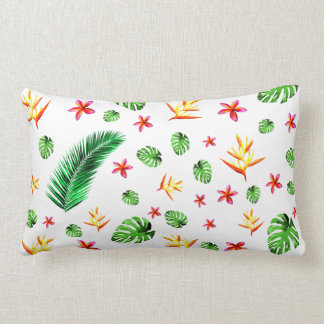 Women's Trendy Tropical Leaf Flower Home Decor Lumbar Pillow
