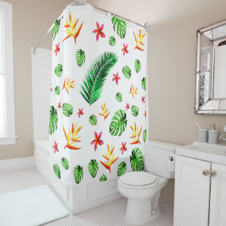Women's Trendy Tropical Leaf Flower Home Decor Shower Curtain