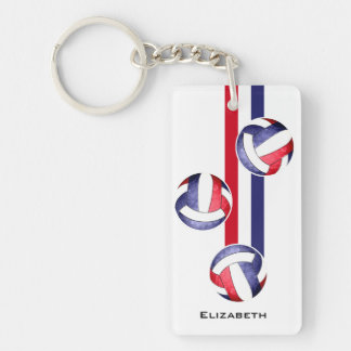 women's volleyball red white blue Single-Sided rectangular acrylic key ring
