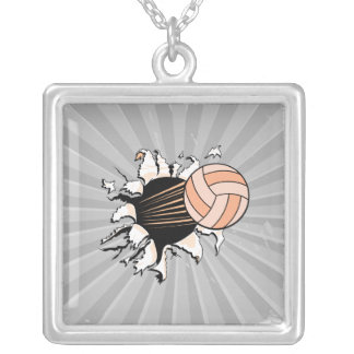 womens volleyball ripping through custom necklace