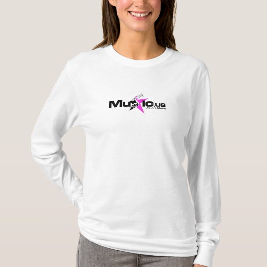 Women's White Long Sleeve - Black Pink T-Shirt