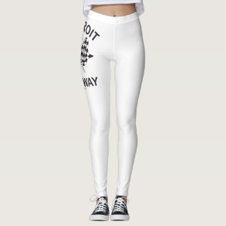 Women's White Pants with Detroit Dragway Flags Log