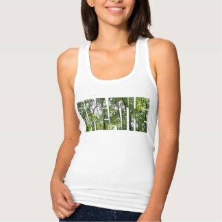"Women's WHITE Tank Top ""BREATHE""`"