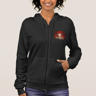 Women's Zip Hoodie with a Red Art Déco Style Fairy
