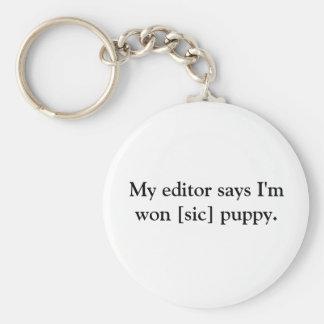 Won [sic] puppy basic round button key ring