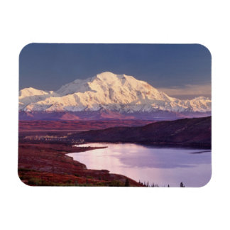 Wonder Lake and Mt. Denali at sunrise in the Rectangular Photo Magnet