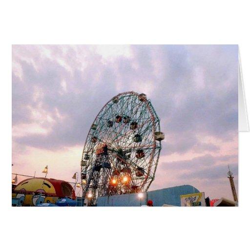 'Wonder Wheel at Twilight' Blank Greeting Card