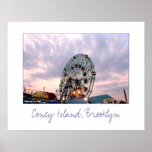 'Wonder Wheel at Twilight' Poster