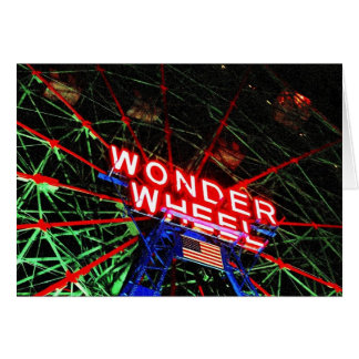 'Wonder Wheel Neon' Blank Greeting Card