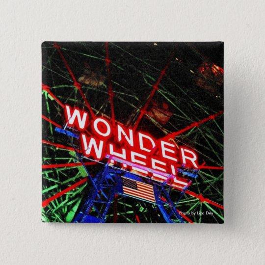 'Wonder Wheel Neon' Square Button