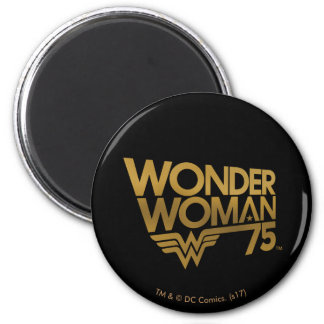 Wonder Woman 75th Anniversary Gold Logo Magnet