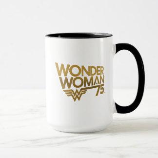 Wonder Woman 75th Anniversary Gold Logo Mug