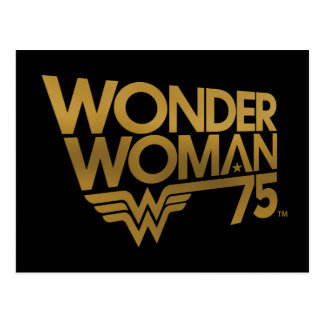 Wonder Woman 75th Anniversary Gold Logo Postcard