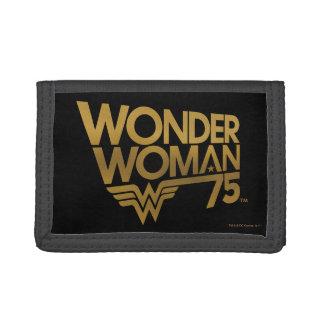 Wonder Woman 75th Anniversary Gold Logo Tri-fold Wallet