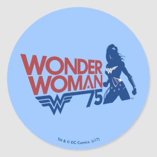 Wonder Woman 75th Anniversary Red & Blue Logo Classic Round Sticker