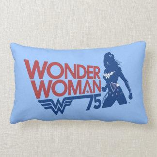 Wonder Woman 75th Anniversary Red & Blue Logo Lumbar Pillow