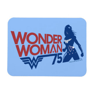 Wonder Woman 75th Anniversary Red & Blue Logo Magnet
