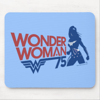 Wonder Woman 75th Anniversary Red & Blue Logo Mouse Mat