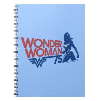 Wonder Woman 75th Anniversary Red & Blue Logo Notebook